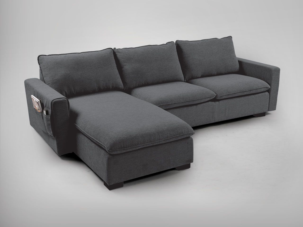 Nacho l shaped sofa dark grey comfort design the for Design sofa