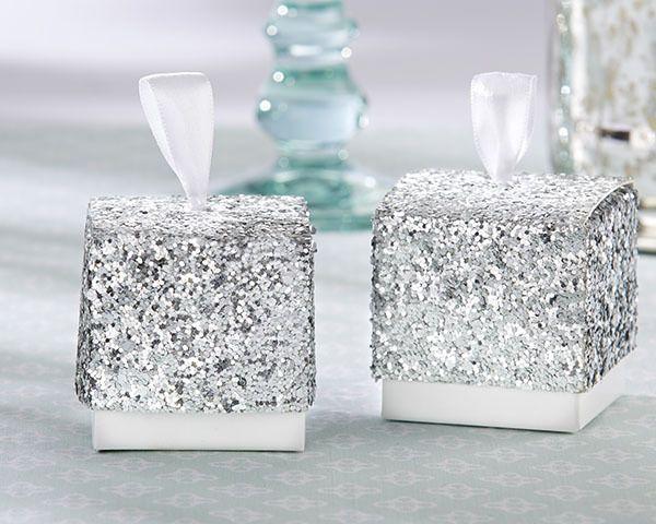 Glitzy All that Glitters Silver Glitter Wedding Favor Boxes - Affordable Elegance Bridal -