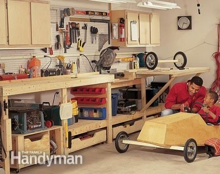 Workbench For A Small Space Fold Out Work Table Roll Saw Stand Miter Box And Lots Of Storagemdashcabinets Drawers Pegboard