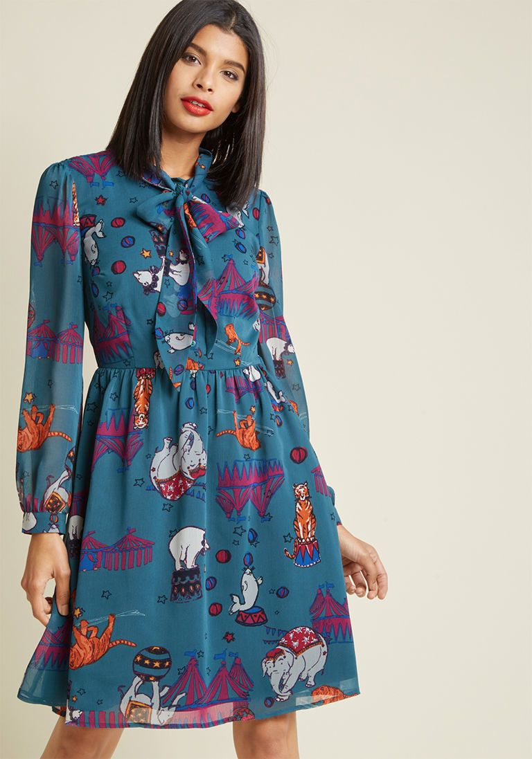 a0d1a3860497c Chiffon Tie Neck Shirt Dress in M - Long Knee Length by ModCloth