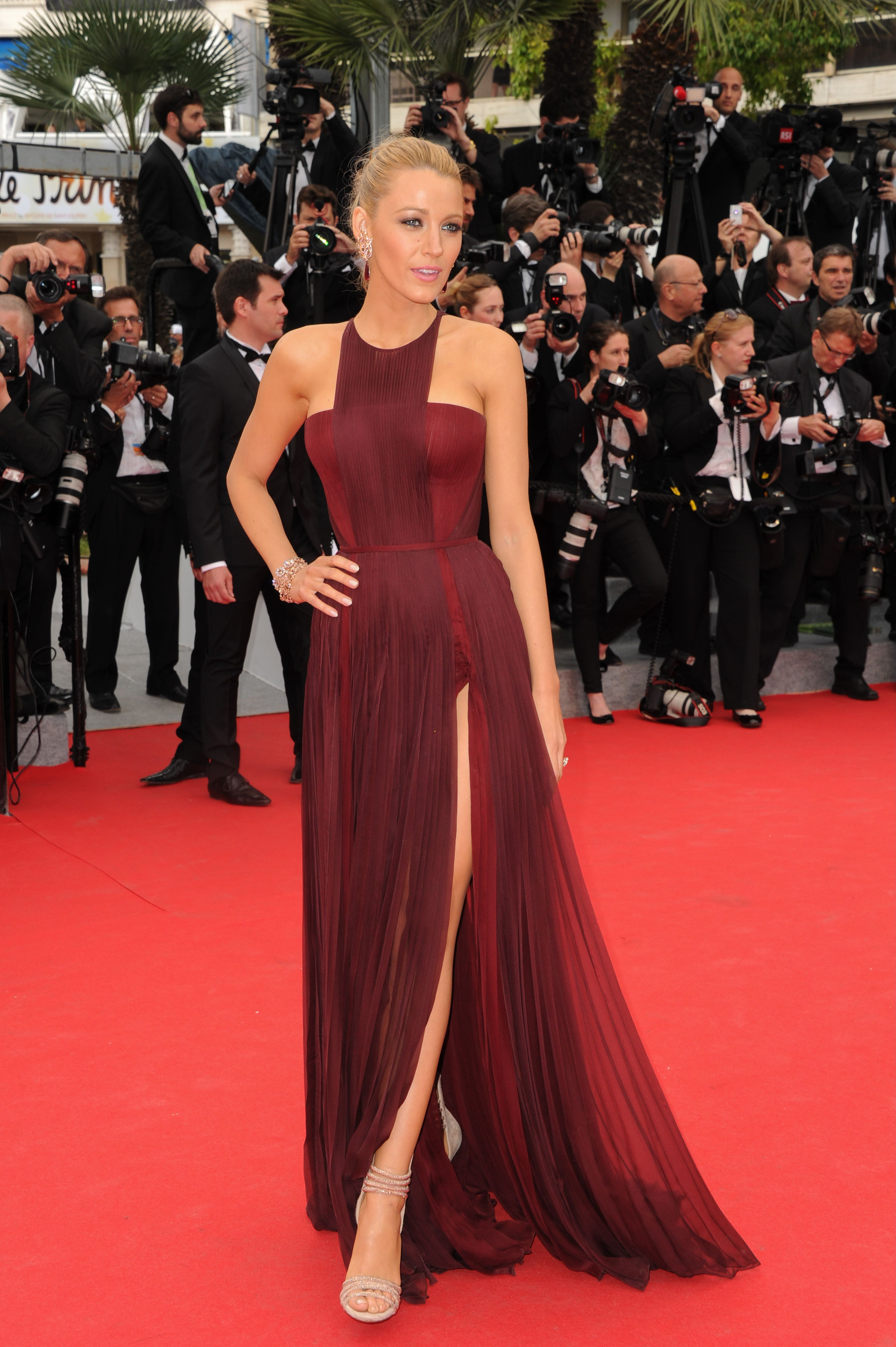 Blake lively wearing burgundy chiffon evening dress beige