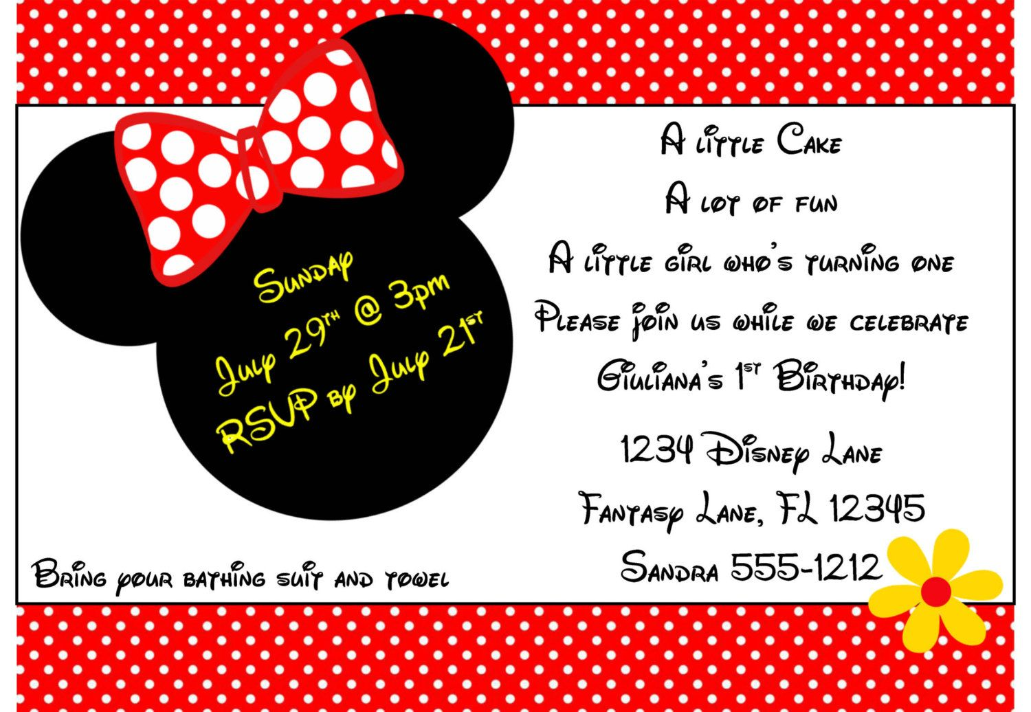 Minnie Mouse Invitation Template X By Luckybean On Etsy