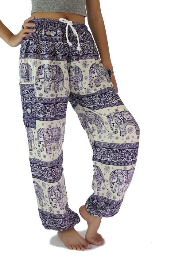 Unisex Elephant pants / Harem pants / Yoga pants one size fits Sizing One size fits all (Approximately) Size : (inches) Waist 22 or 55 cm