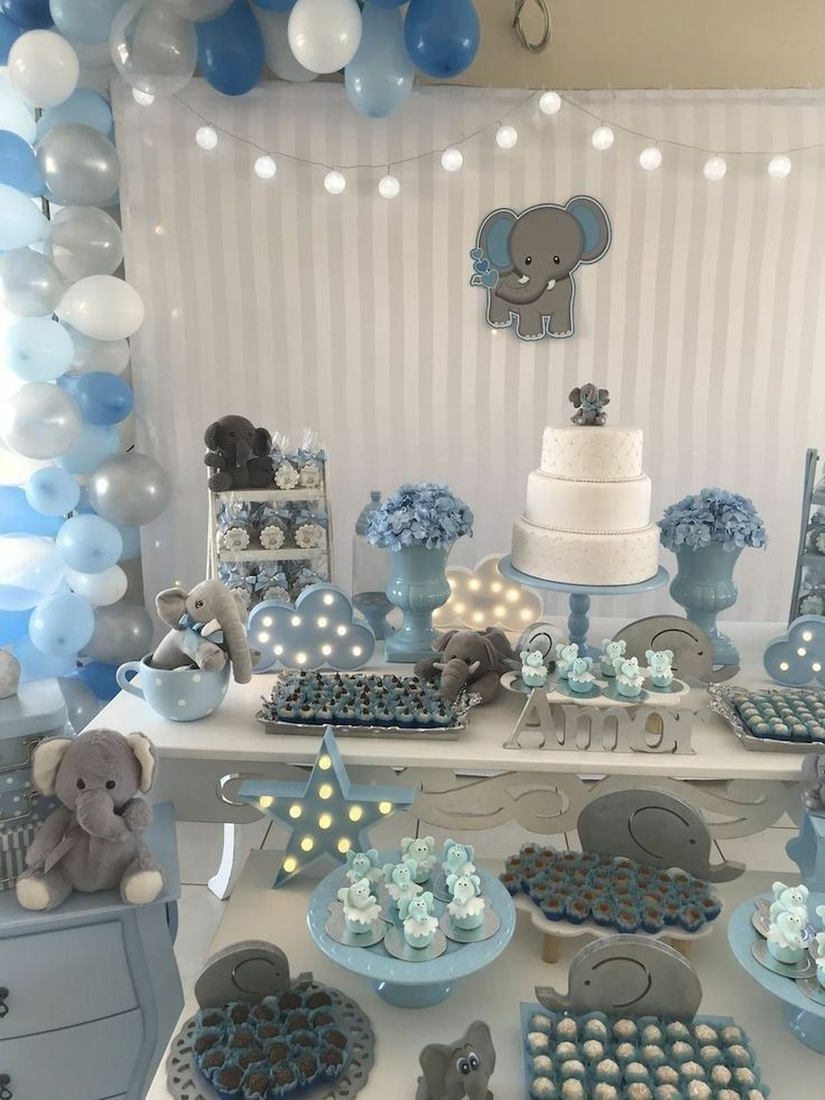 50 Awesome Baby Shower Themes And Decorating Ideas For Boy Peanut Baby Shower Elephant Baby Shower Boy Blue Baby Shower