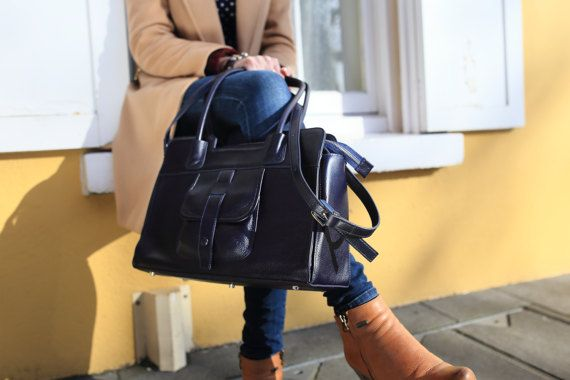 Leather Bag Navy / Leather Cross Body Bag by NicholaJaneDesign