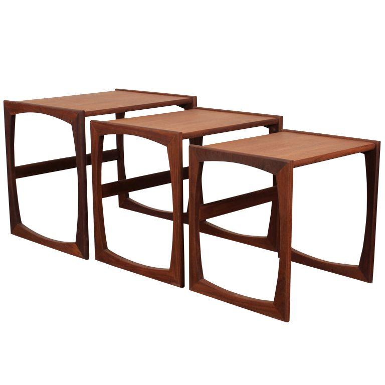 Set Of 3 Danish Modern G Plan Teak Nesting Tables