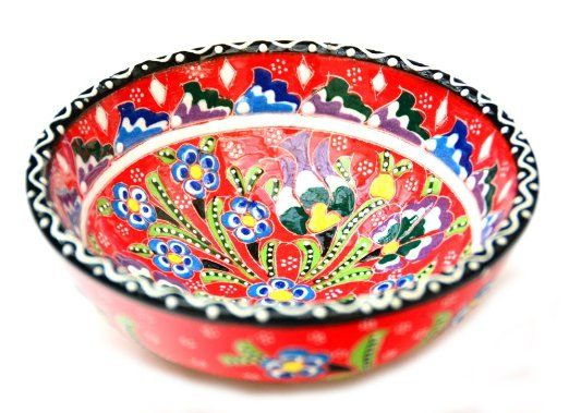 Amazon.com - Hand Painted Turkish Ceramic Bowl-red - Decorative Bowls