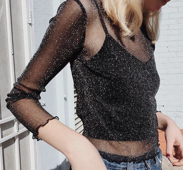 4bc11445edcf0e See through glitter top and jeans for the holidays