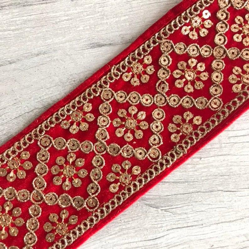 Indian Bridal Maroon Zari Sequin Velvet fabric Dupatta Sari lace Trim Border