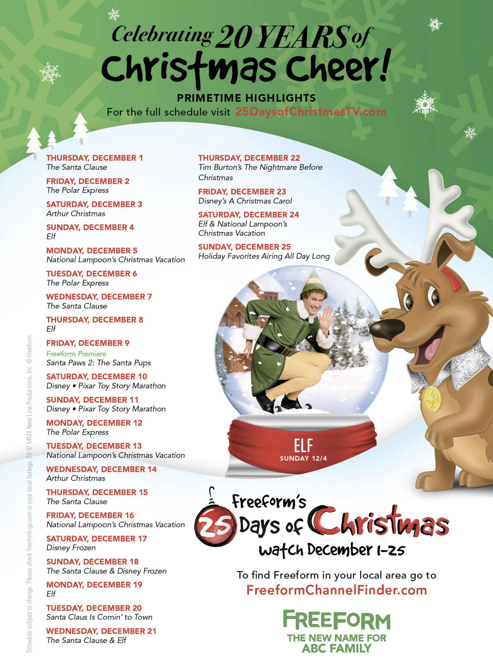 ABC Family (now Freeform) Christmas TV Specials 25 Days