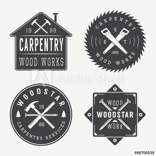 Set of vintage carpentry and mechanic labels, emblems and ...