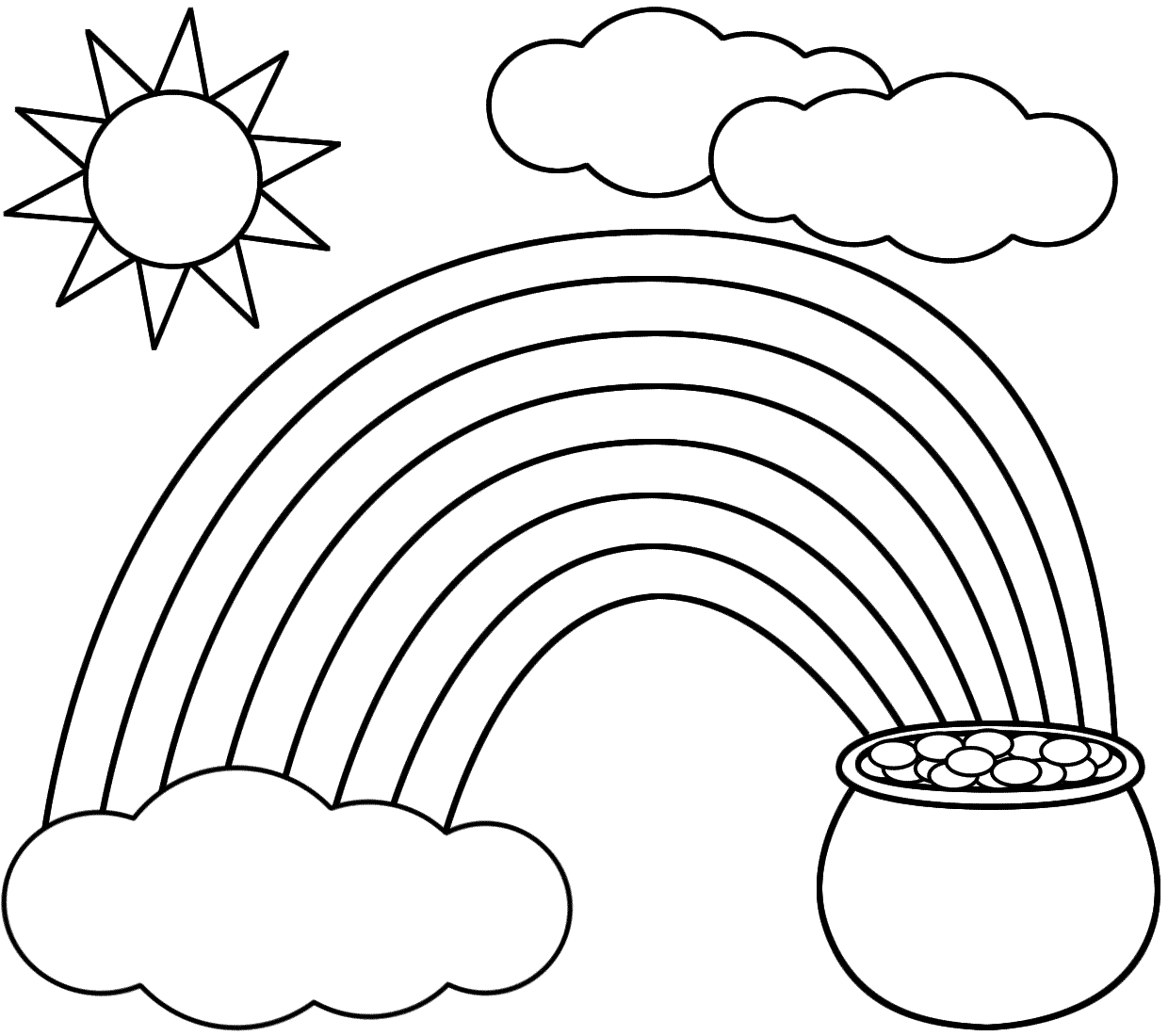 Rainbow pot of gold sun and clouds coloring pages