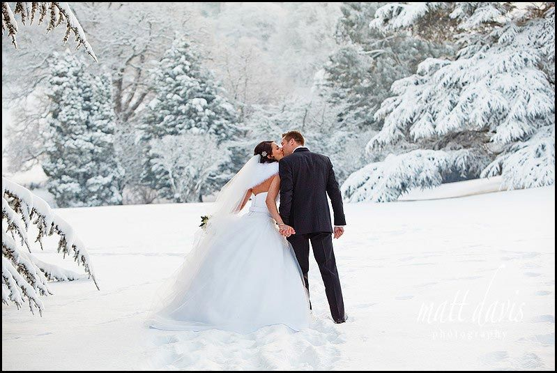 Dumbleton Hall Winter Wedding Photos In Snow