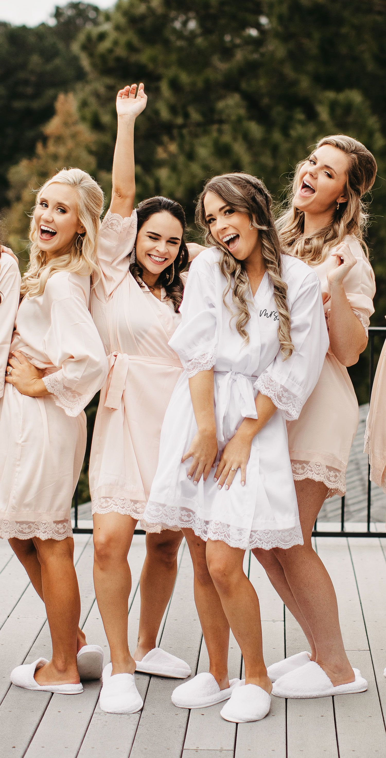 01d3eada758b Bride & Bridesmaid Robes for Getting Ready on Your Wedding Day - Pretty Satin  Lace Robes are comfy & cute all in one.