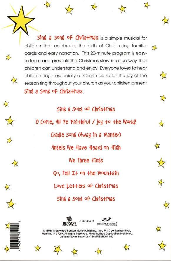 Sing A Song Of Christmas: A Simple Christmas Musical For Kids | Christmas skits, A christmas ...