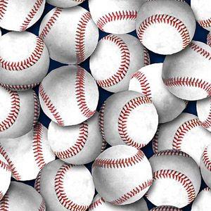 Creative Cuts Fat Quarter Baseballs on Light Blue Background