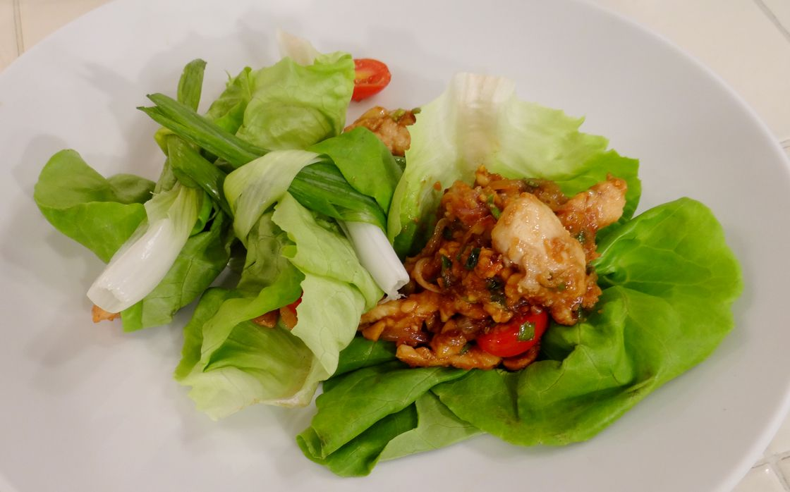 Chicken and Cashew Lettuce Wrap: Hey guys!! This is a really fun recipe if you want to try something fun and new. This was my first time making this and it came out fantastic. I had had them before and decided to give it a go. I'm talking about chicken and cashew lettuce wraps. I hope you give it a try as well because the flavors rock!!