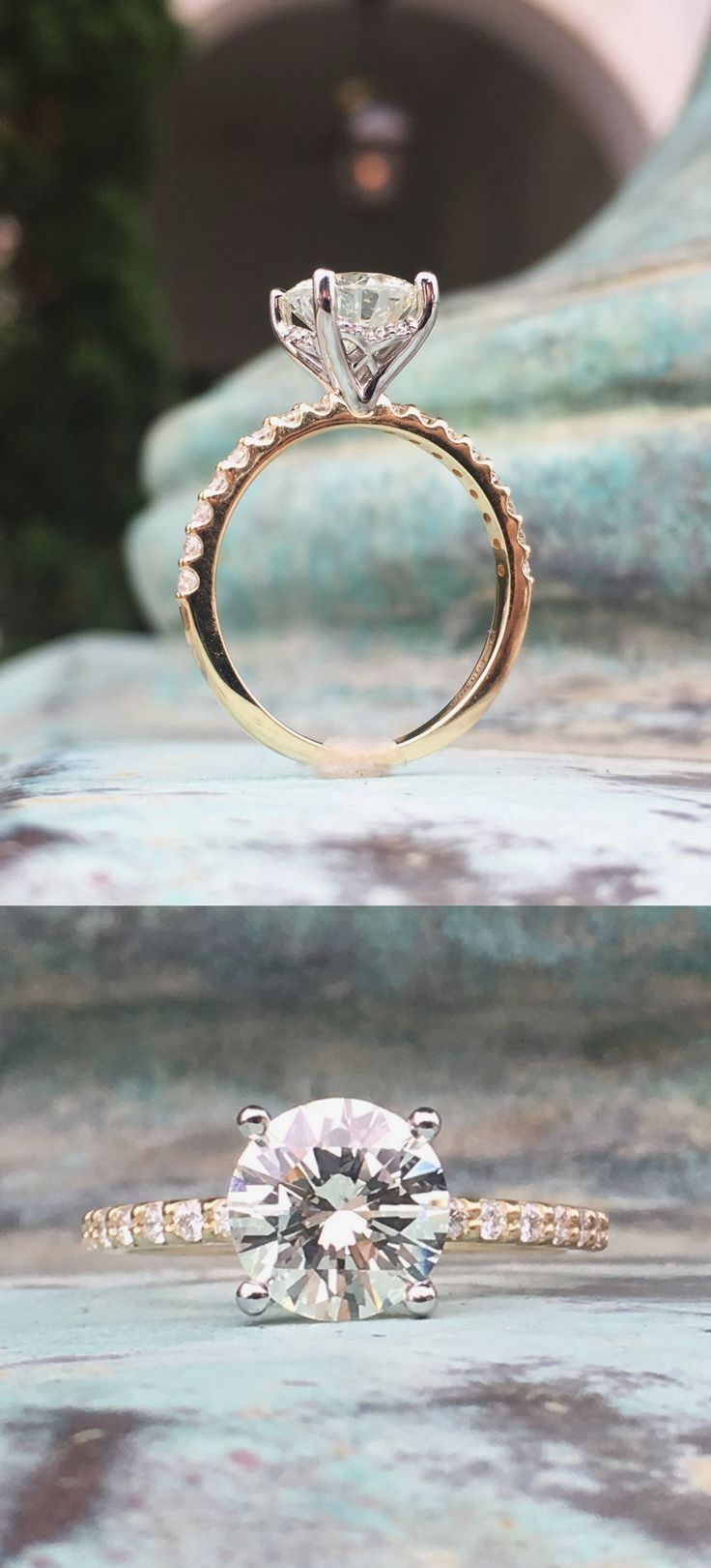 Round Engagement Ring, Solitaire Engagement Ring, Two Toned Engagement Ring, Decorative Basket Design, 1.75ct Round Diamond Ring, Contact Armentor Jewelers for Any Custom Design Idea