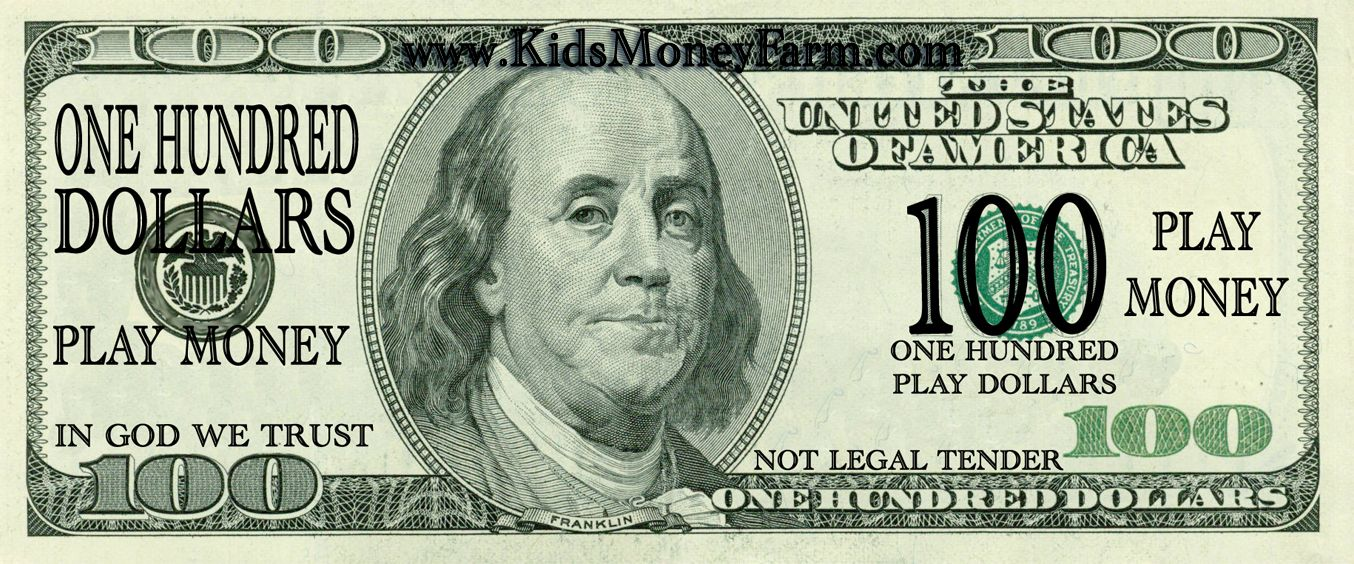 Print fake money for sheets of 100 bills click on the format you wish to download for Play money to print