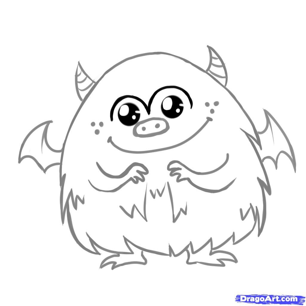 How To Draw A Cute Monster Step By Step Creatures Monsters Monster Coloring Pages Monster Drawing Cute Monsters Drawings