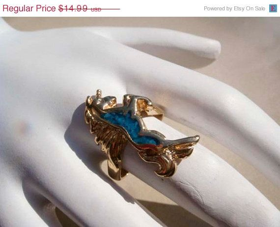 SALE Vintage Gold Unicorn Ring Turquoise by PaganCellarJewelry, $12.74