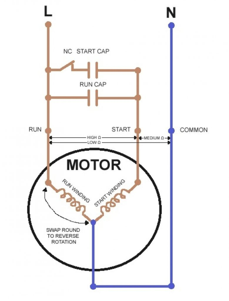 How To Reverse A Single Phase Motor : reverse, single, phase, motor, Single, Phase, Forward, Reverse, Motor, Wiring, Diagram, 779x1024, Capacitor,, Circuit, Diagram,, Electrical