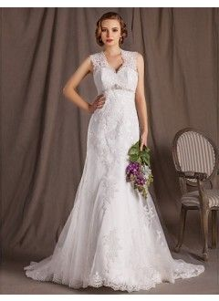 Gorgeous A-line Princess V-neck Court Train Lace Satin And Tulle Wedding Dress