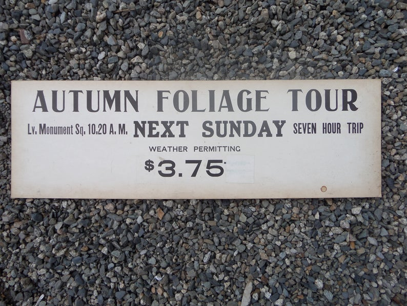 Vintage Autumn Foliage Tour Sign Scenic New England Portland Maine Vacation Memorabilia Cabin Cottage Decor #autumnfoliage