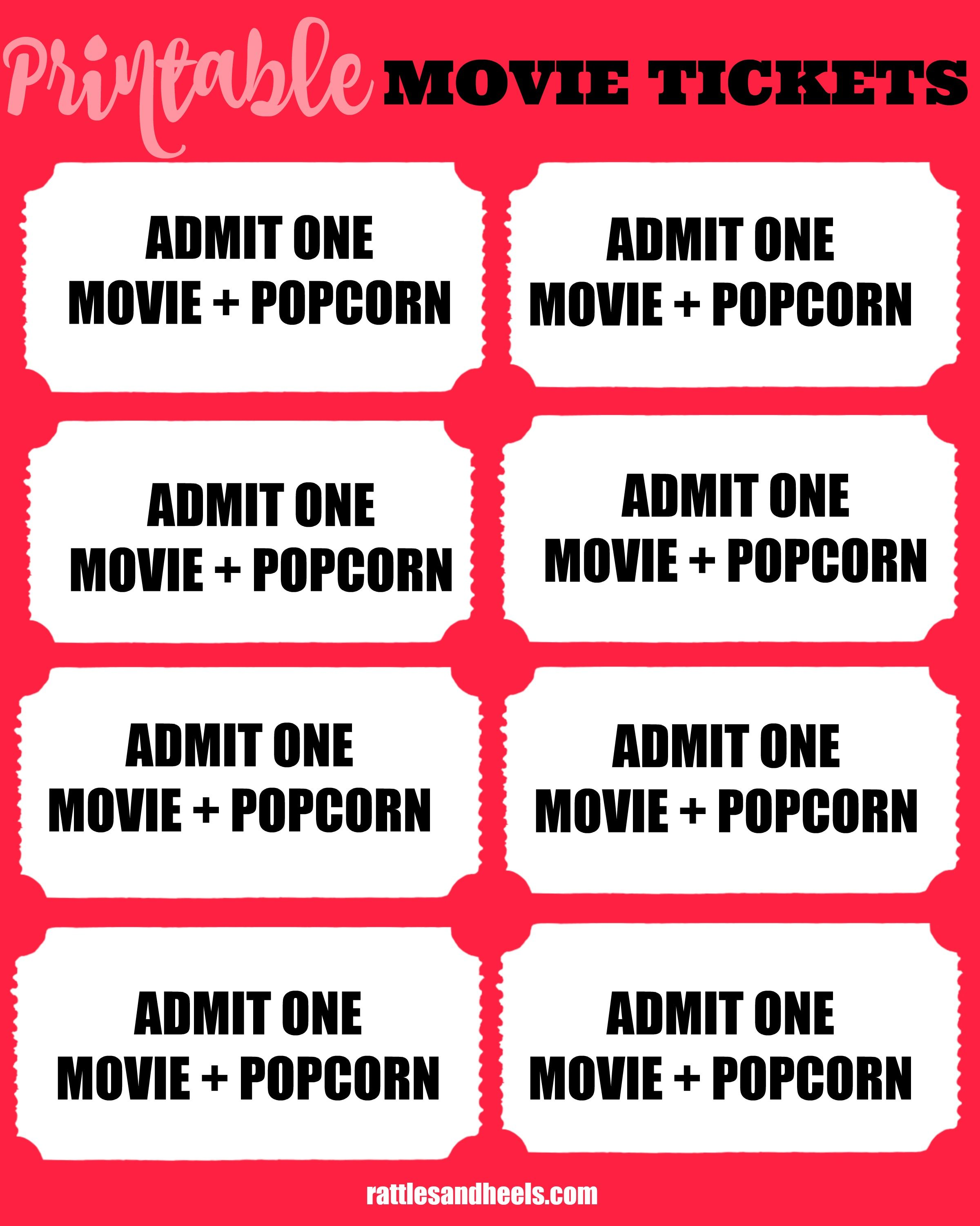 image regarding Printable Movie Tickets referred to as Spouse and children Online video Night time With Printable Video Tickets + Giveaway