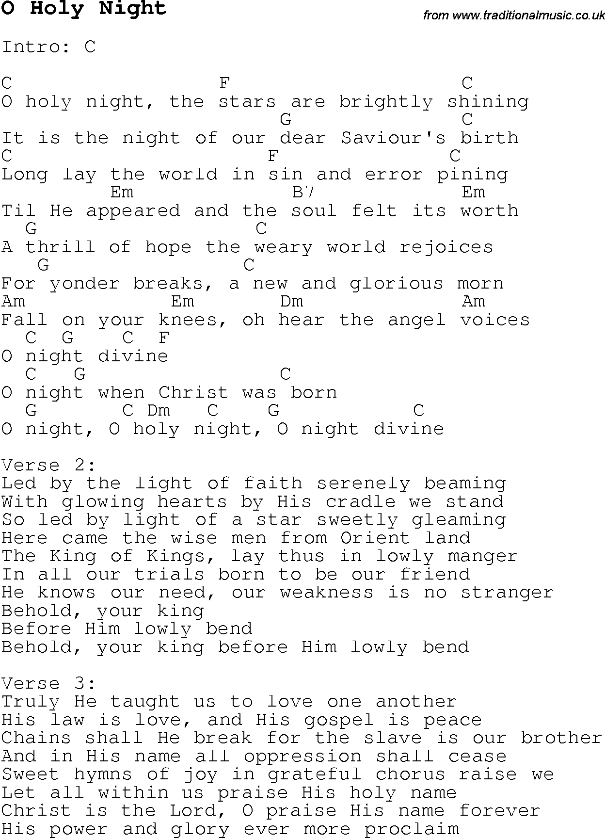 Christmas Carol Song Lyrics With Chords For O Holy Night Guitar Chords For Songs Ukulele Chords Songs Guitar Chords And Lyrics Dear winter was written by ryan met, who is not the lead vocalist for the track, although he is the producer. christmas carol song lyrics with chords