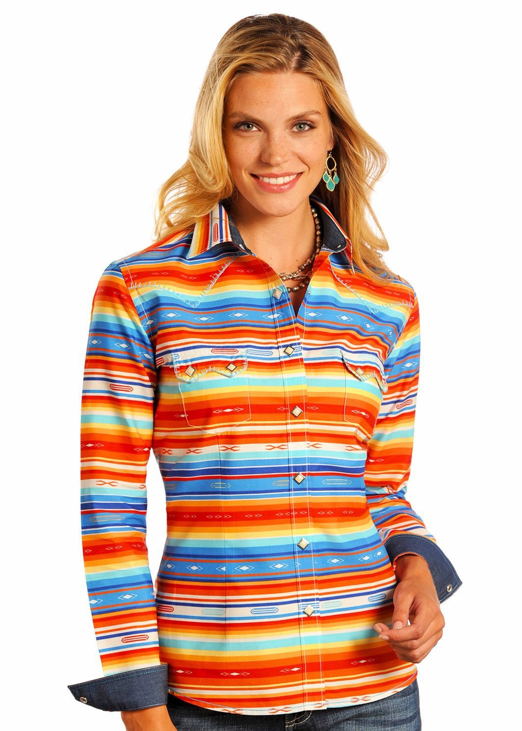 d45c94346bf0c1 Panhandle Slim Rough Stock Ladies Navajo Striped Snap Up Western Shirt  R4S7100