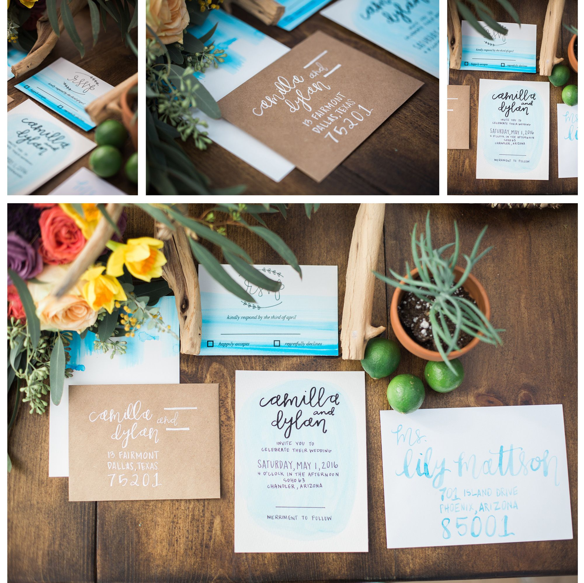 Watercolor southwest wedding invitations the creative team venue and furniture rentalstremaine ranch floral design bloom and blueprint photography denise karis event planner the amburgeys invitations tenn letters malvernweather Image collections
