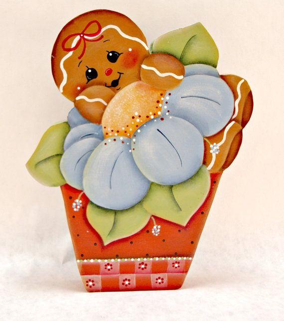 Flower Pot Ginger, Gingerbread Magnet or Shelf Sitter, Pamela House, ByBrendasHand, Spring Flowers, Gingerbread Kitchen Decor