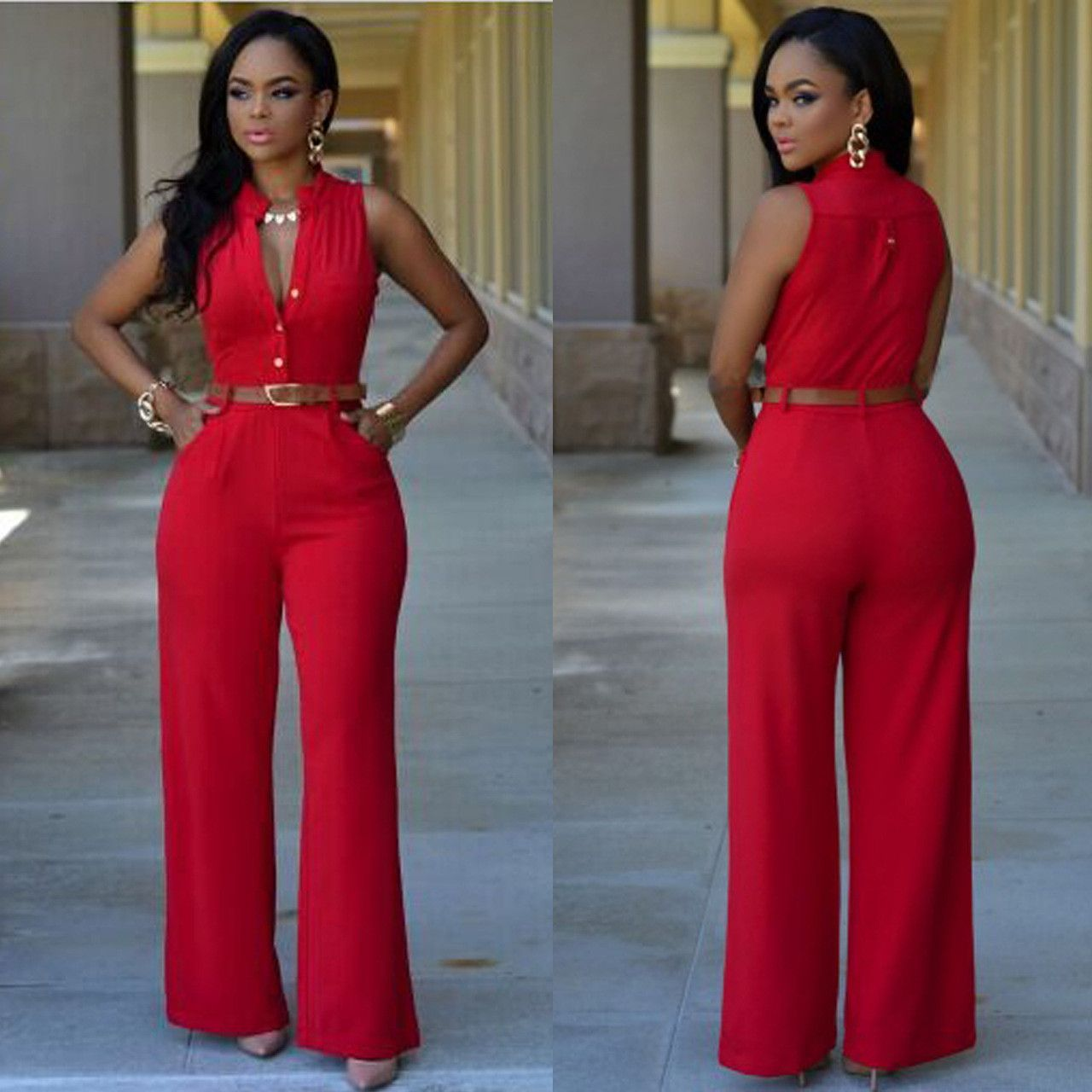 311a06ce013 Sleeveless Elegant Jumpsuit Overall 2016 Plus Size Solid Jumpsuits and  Rompers for Women(No Belt)