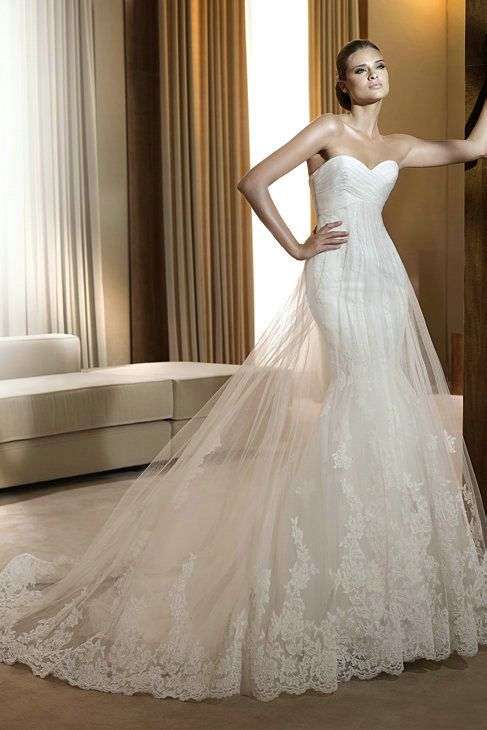 Ruched sweetheart satin trumpet wedding gown casual with for Wedding dress lace overlay