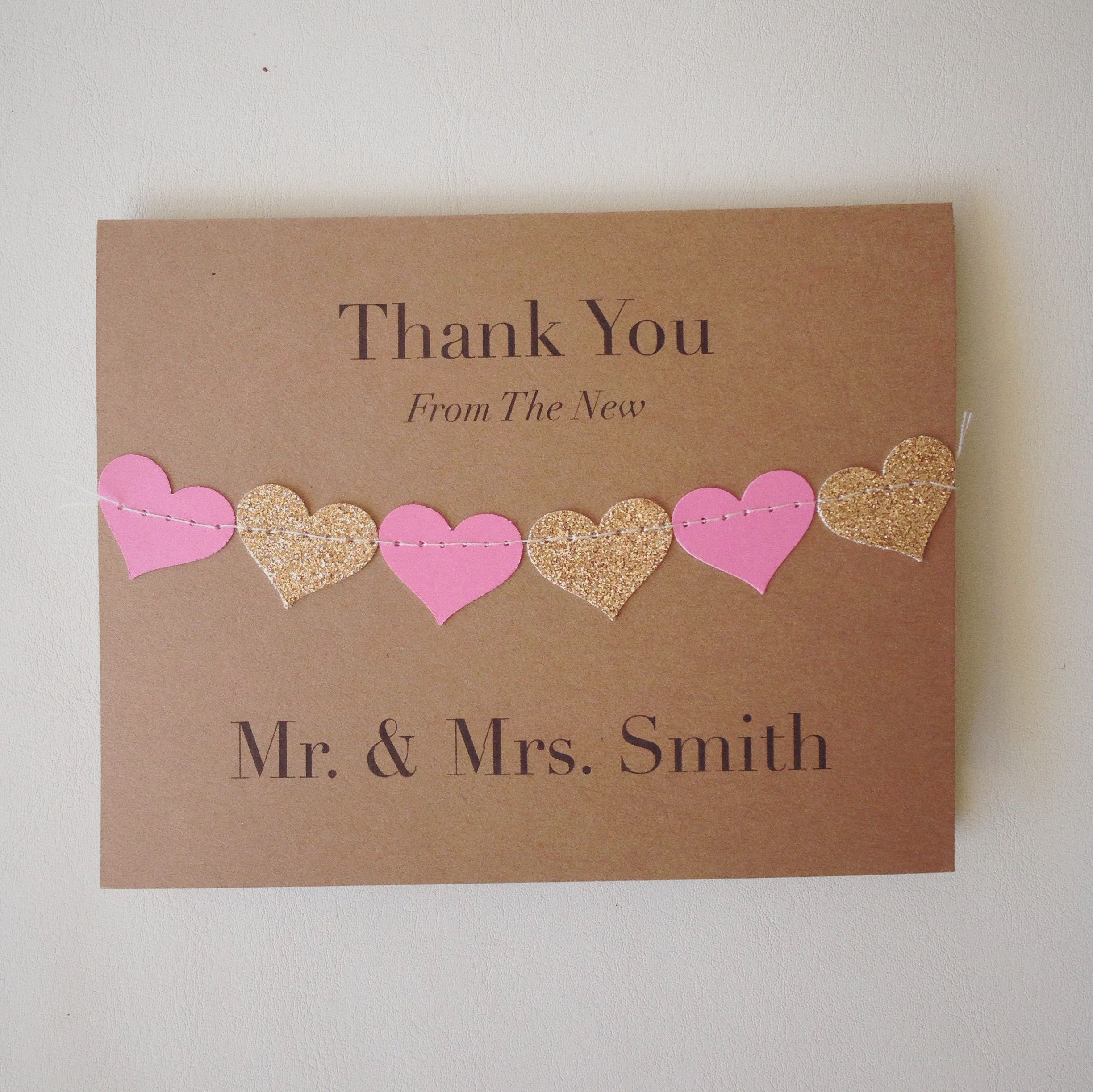 wedding custom thank you cards%0A Personalized wedding thank you cards  with a heart bunting sewn across