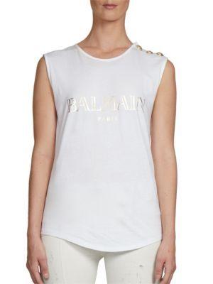 BALMAIN Sleeveless Logo Tee. #balmain #cloth #tee