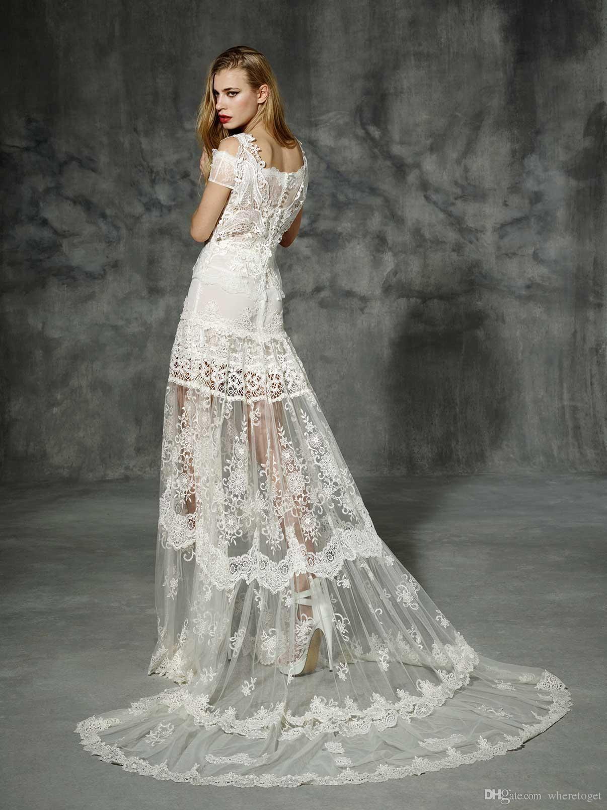 charming yolancris wedding dresses lace applique scoop short