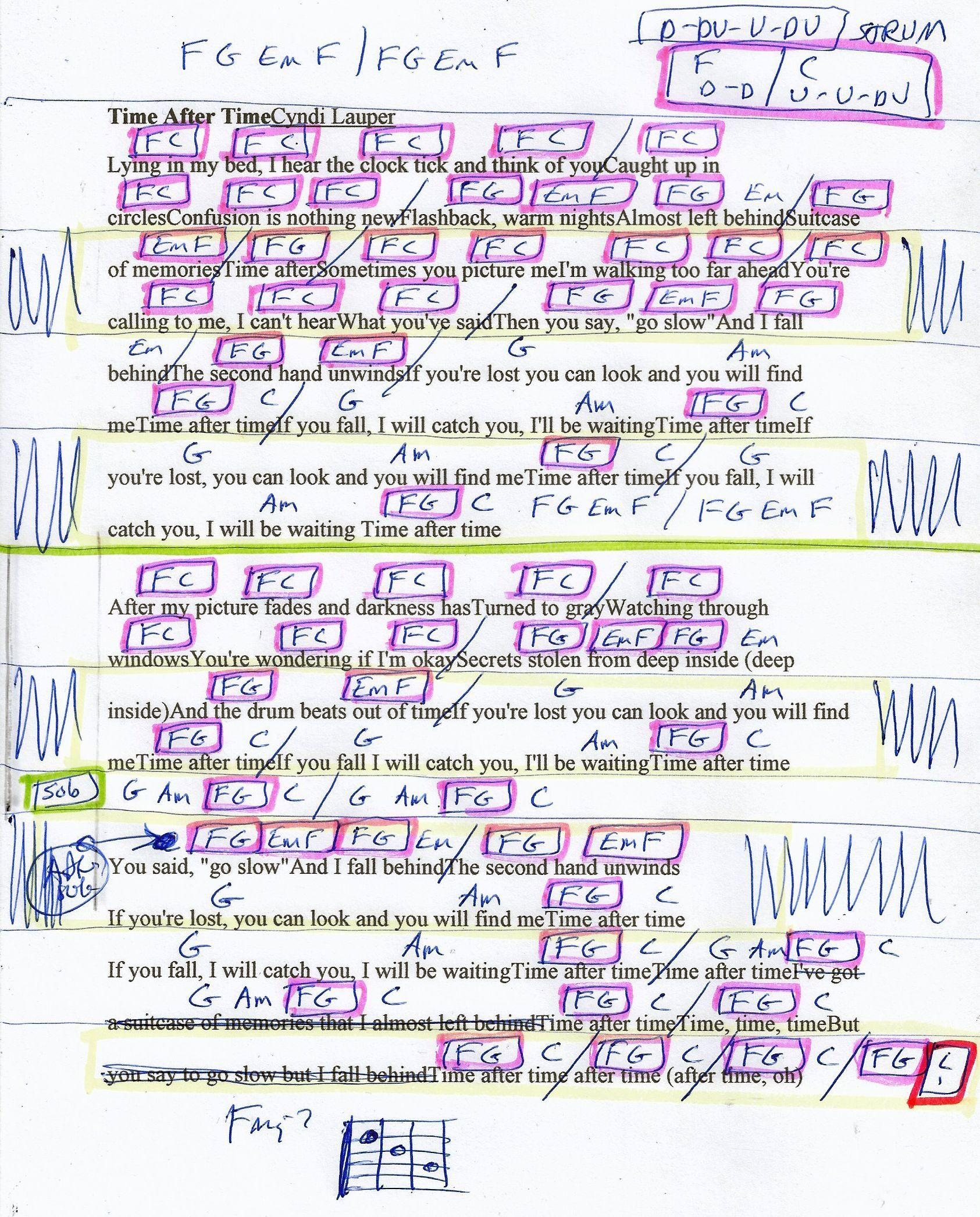 Time After Time Cyndi Lauper Guitar Chord Chart   Guitar chord ...