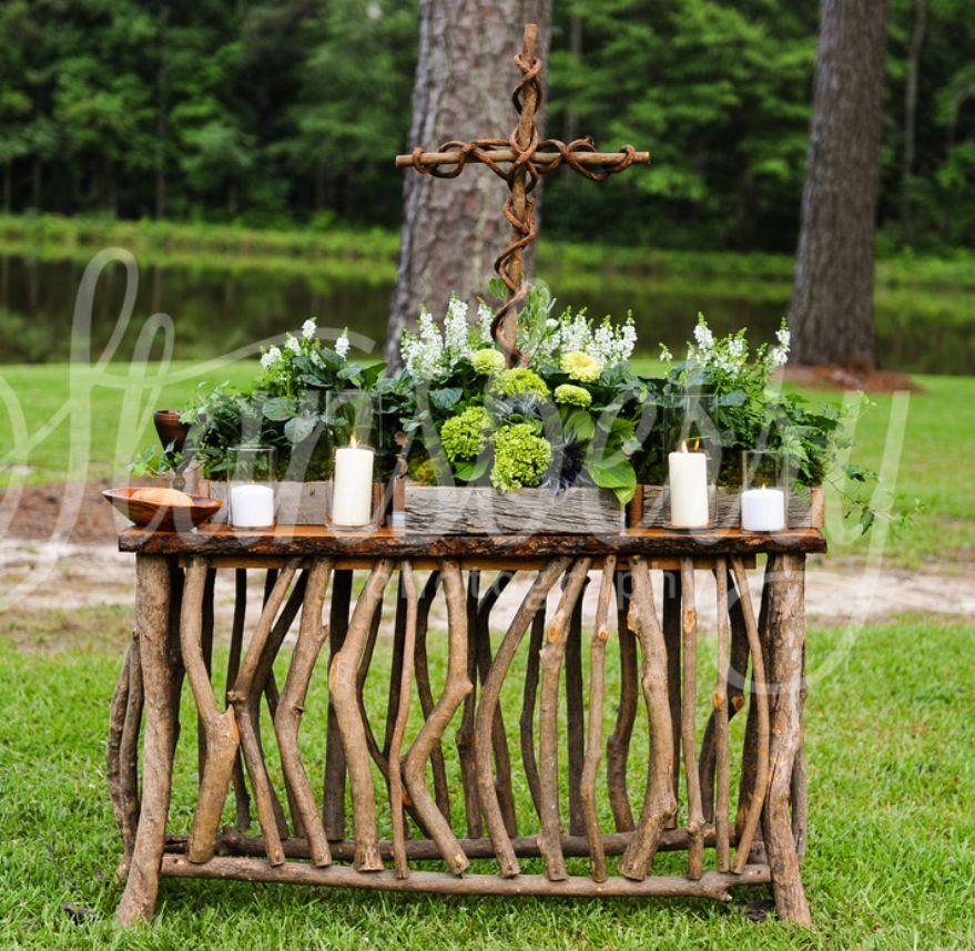 Rustic Wedding Altar Ideas: Rustic Wedding Communion Table