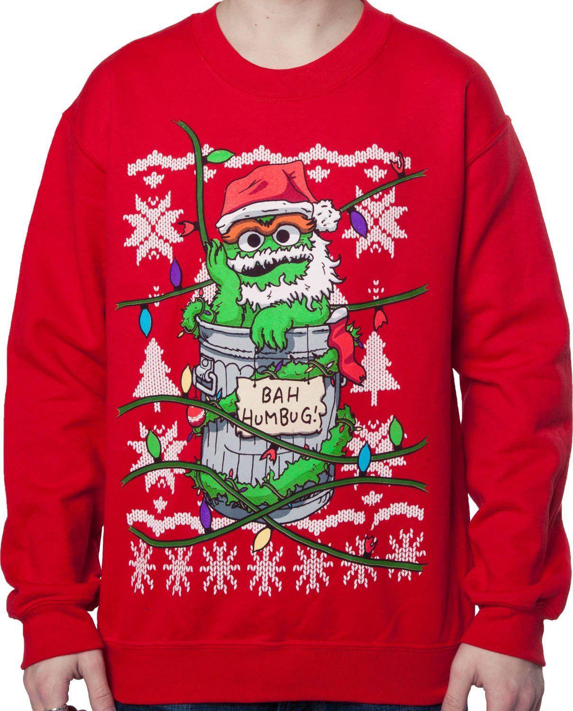 Men\'s Sesame Street Oscar The Grouch Ugly Sweatshirt Red XL | muppet ...