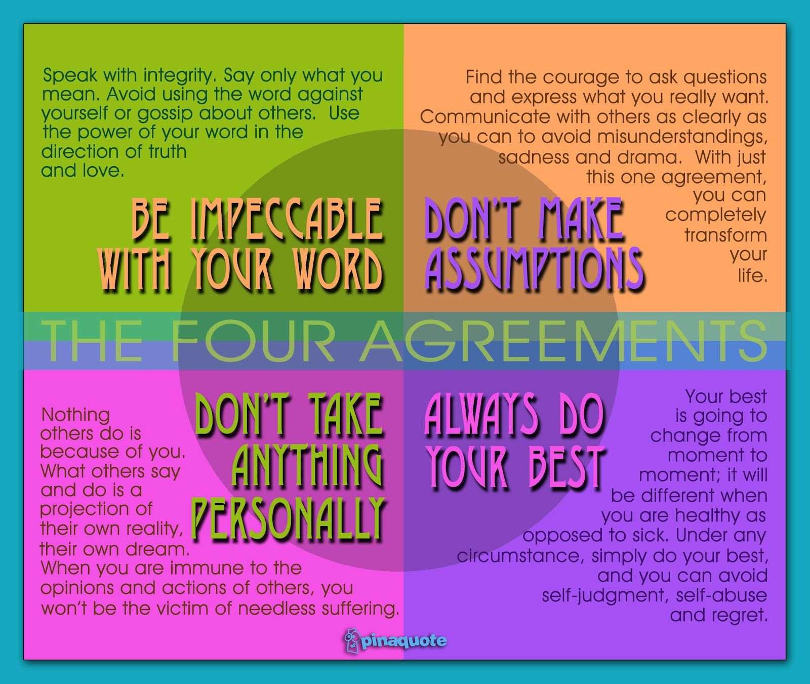 Four Agreements Words & Quotes Pinterest