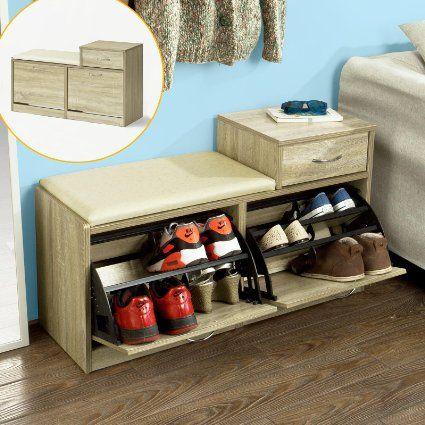 SoBuy FSR17-N Banc Meuble à chaussures 2 abattants avec coussin et 1 - meuble de rangement avec tiroir