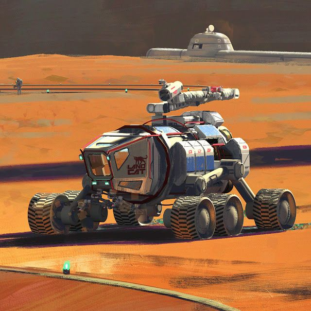 SpaceX ITS spaceships at Mars Base Alpha by Maciej Rebisz | Space art, Sci  fi concept art, Futuristic cars