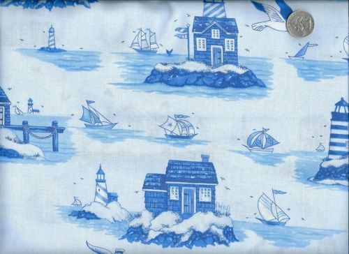 Cotton Quilt Fabric Safe Harbor Nautical Toile Blue And White 1/2 ... : nautical quilt fabric - Adamdwight.com