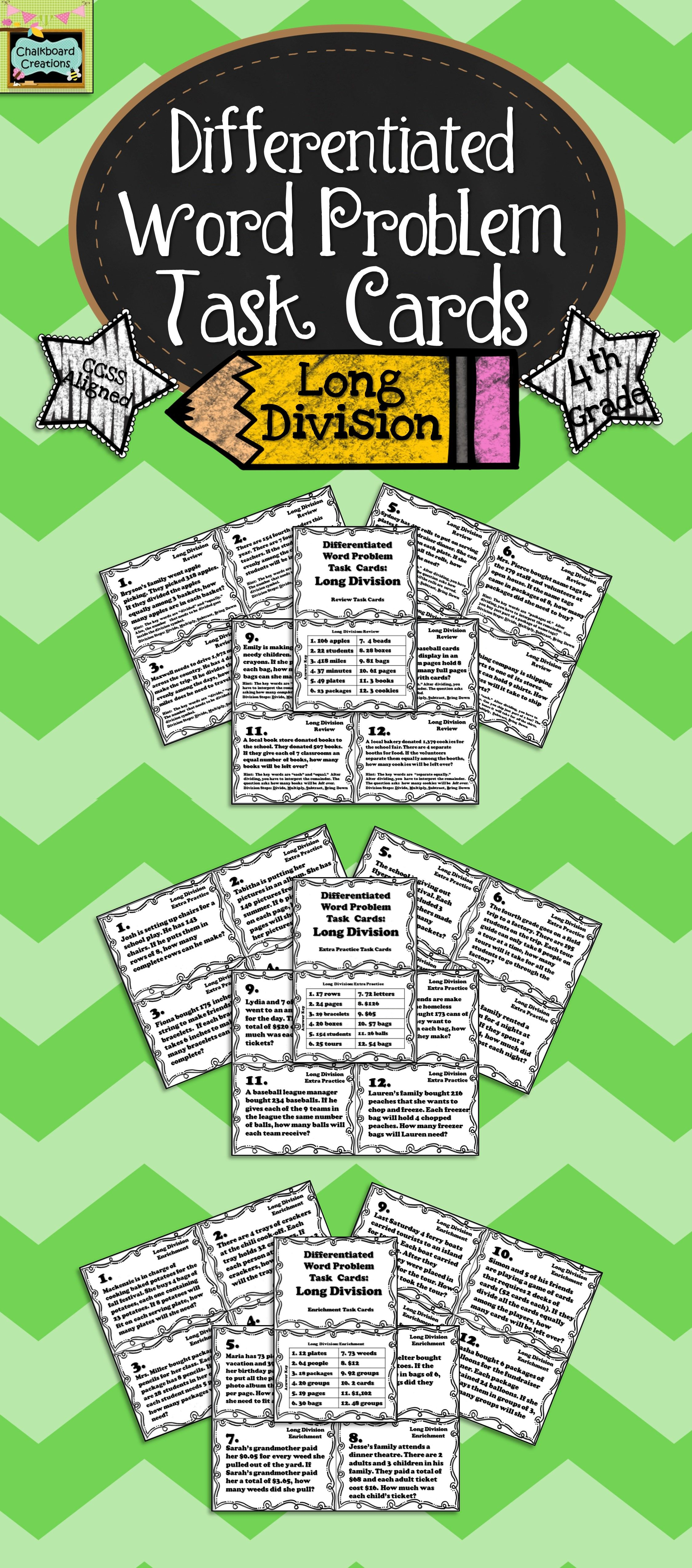 Differentiated Word Problem Task Cards Long Division