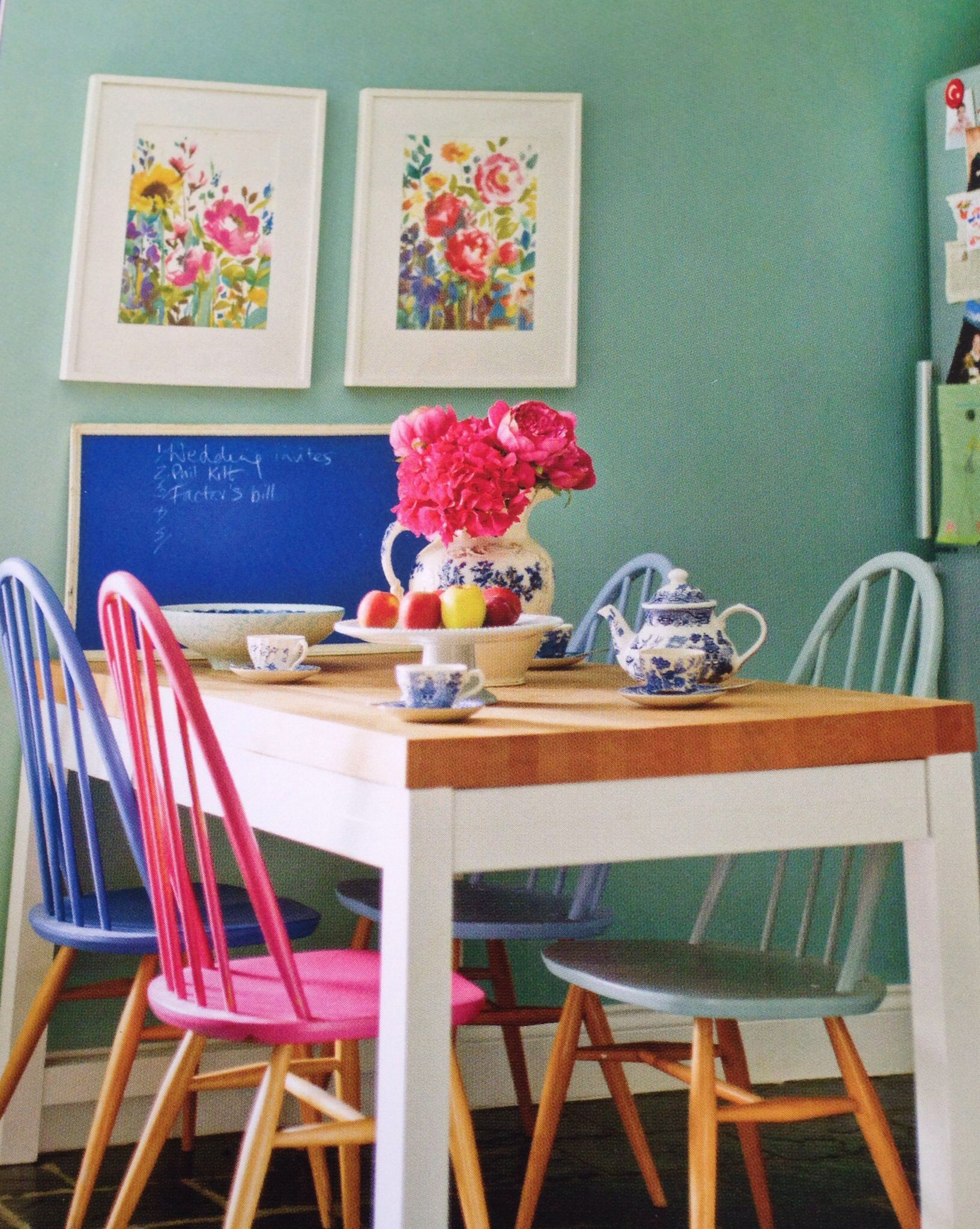 turquoise kitchen chairs Upcycled chairs recycled chairs painted dining chair