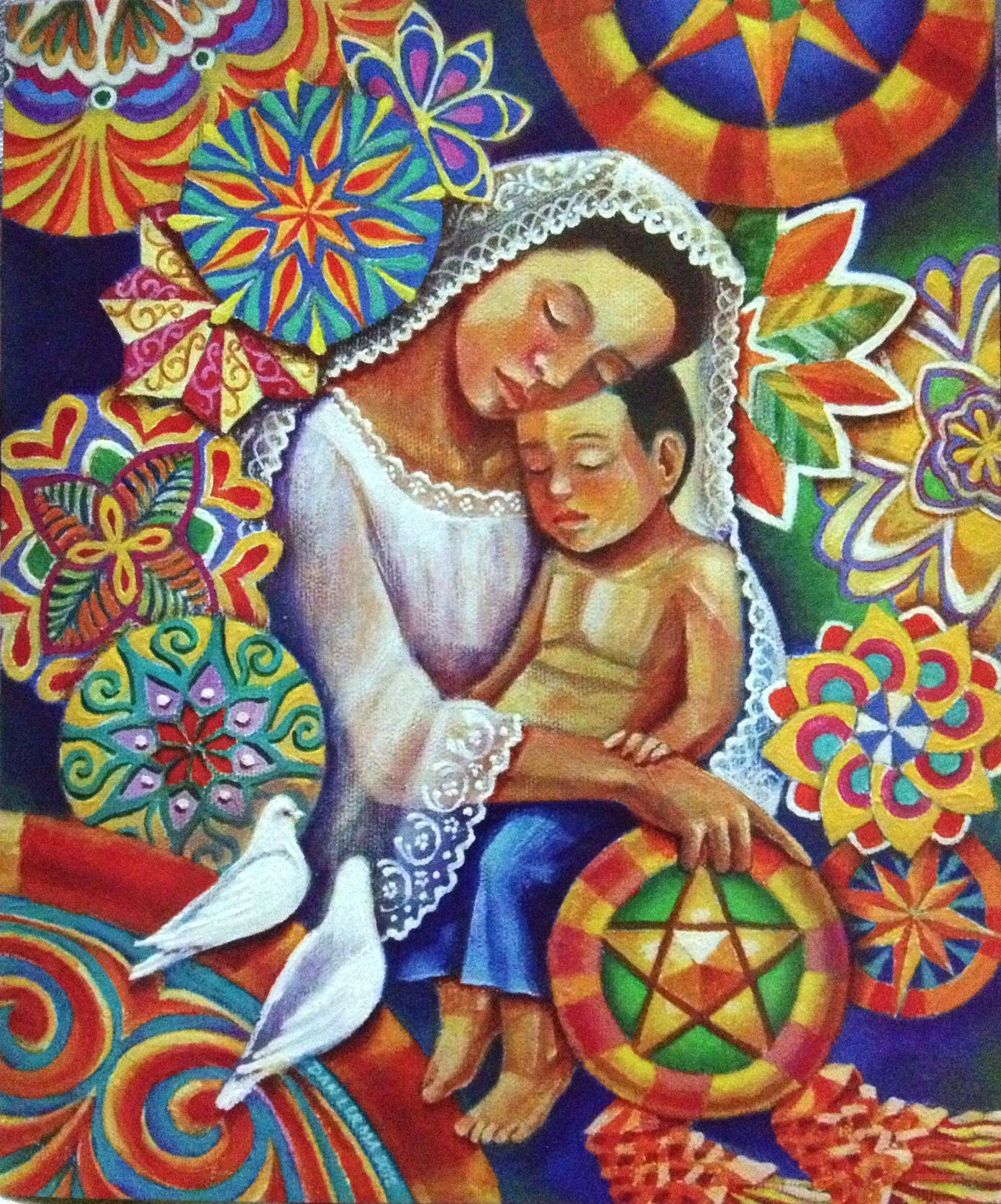 mother and child with colorful parol background Filipino art