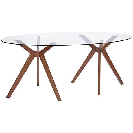 Zuo Buena Vista Mid Century Oval Glass Dining Table Glass Dining