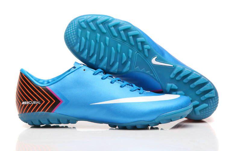 hot sale cheap new soccer shoes 2013 nike mercurial vapor x tf soccer cleats skyblue
